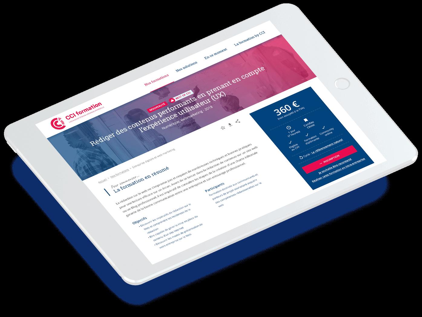 Site CCI Formation - Solution portail digital